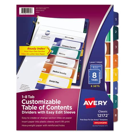 Superwarehouse Ready Index Customizable Table Of Contents Asst Dividers 8 Tab Ltr 6 Sets Avery 25 Tab Table Of Contents Template