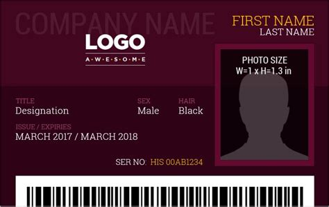 photo id badge template employee templates word formal badges