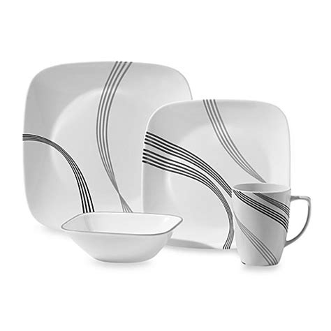 bed bath and beyond dishes corelle 174 square urban arc 16 piece dinnerware set bed