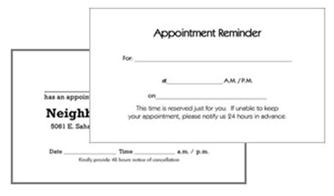 appointment reminder card template business appointment cards mbs communications dental