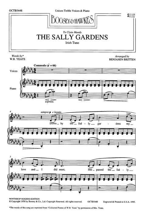 By The Sally Gardens by Sally Gardens Unison By Benjamin Britten J W Pepper
