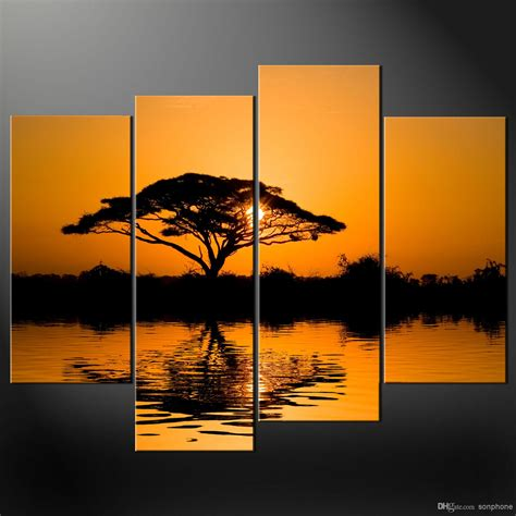 Cheap Dining Room Sets Online Framed 4 Panel Large African Wall Art Decor Modern Sunset