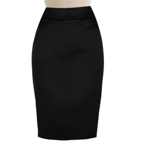 black satin high waisted pencil skirt custom fit