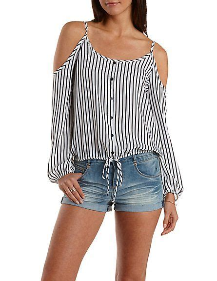 Shoulder Top Chullote striped button up cold shoulder top russe top