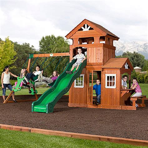 walmart playsets for backyard backyard discovery shenandoah cedar wood swing set