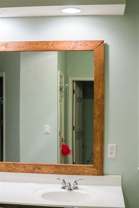 diy upgrade  bathroom mirror   stained