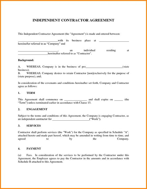 Contractor Contract Template Contractor Contract Template Contractor Agreement Form Barber Restaurant Consulting Contract Template