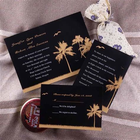 wedding invitations black and black and gold palm tree wedding invites ewi149 as low as 0 94