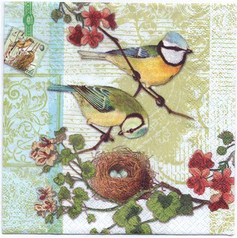 Bird Decoupage Paper - decoupage paper napkins of bird family with bird nest