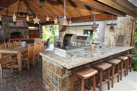 Kitchen beautiful image of outdoor kitchen design and decoration using backless square oak wood