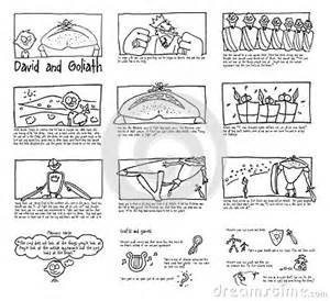 David And Goliath Sunday School Comic Strip Stock Illustration  Image sketch template
