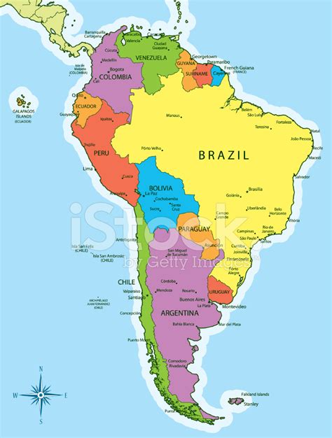 map of south america with cities south america map countries and cities stock vector