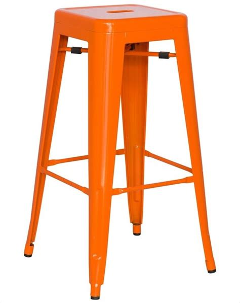 modern orange bar stools alfresco galvanized steel bar stool in orange set of 4