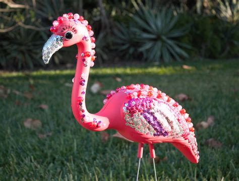 Pink Flamingo Lawn Ornaments | bedazzled flamingo lawn ornament pink plastic flamingo with