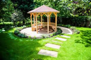 Yard Gazebo by Small Garden Gazebo With Pathways Green Garden In Backyard