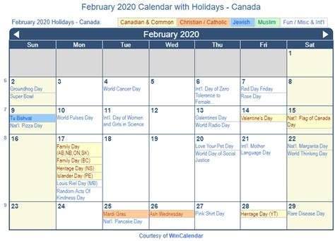 print friendly february  canada calendar  printing