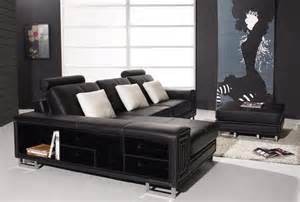 Modern Black Leather Sectional Sofa T957 Modern Black Leather Sectional Sofa Black Design Co
