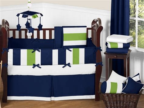 Navy Blue And Lime Green Stripe Baby Bedding 9pc Crib White And Blue Crib Bedding Sets