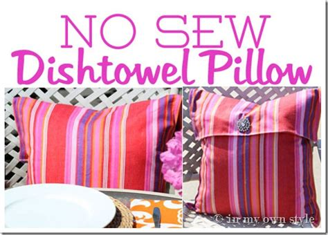 how to make a no sew pillow cover using dishtowels in