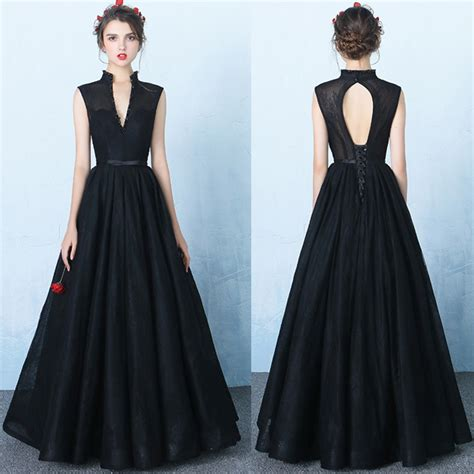 design black lace  neck prom dressesstandup neck