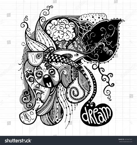 pen doodle vector abstract doodle modern sketchy style image stock vector