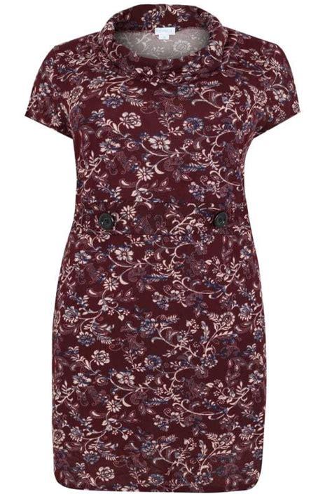 blue vanilla curve burgund blumenmuster kleid mit mini