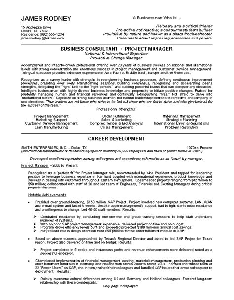 Business Management Resume Template Sle Resumes Business Consultant Resume Or Project