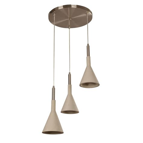 Satin Nickel Pendant Light Fixtures Beldi Ciment 3 Lights Satin Nickel And Cement Pendant Fixture 21952 C3 The Home Depot