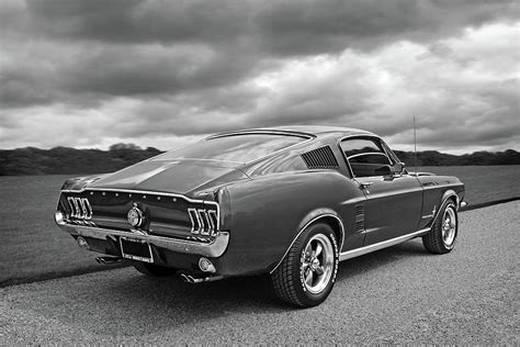 Ford Mustang Home Decor by 67 Fastback Mustang In Black And White Photograph By Gill