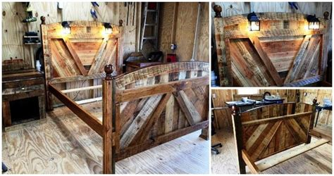 Bed Frame With Built In Tv Stand Diy Pallet Bed Frame With Lighted Headboard And Stands Pallets Pro