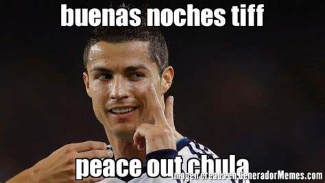 Peace Out Memes - buenas noches tiff peace out chula meme cristiano ronaldo