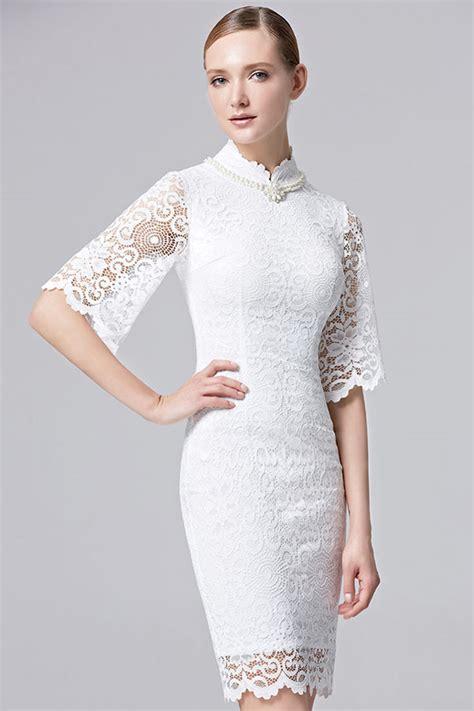 vintage robe de c 233 r 233 monie blanche dentelle col montant