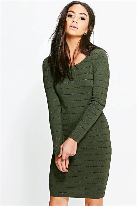 Ribbed Knit Sleeve Dress boohoo womens freyja ribbed sleeve bodycon knit dress