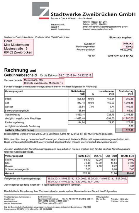 Rechnung Privatperson An Gmbh Rechnung Stadtwerke Zweibr 252 Cken Gmbh