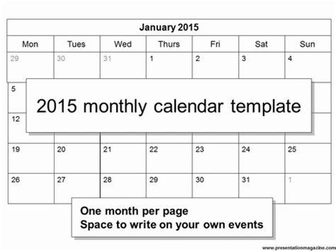 Free Monthly Calendar Templates 2015 free 2015 monthly calendar template