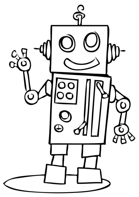 simple robot coloring page coloring pages robot for toddler free best image printable