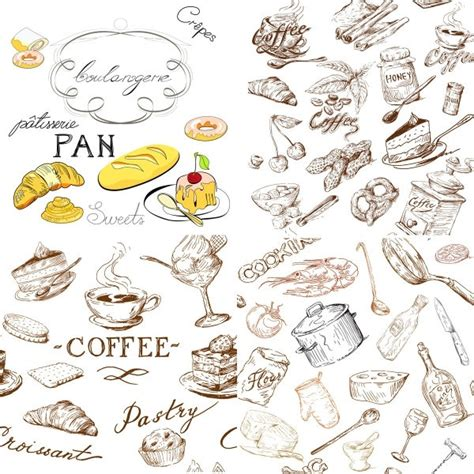 food drawings free line drawing of food and kitchen utensils vector free