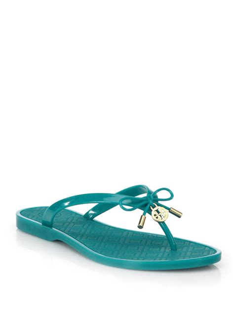 burch jelly slippers burch jelly bow sandals in blue lyst