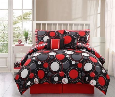 red twin comforter details about 8 10pc black red circle design kid s