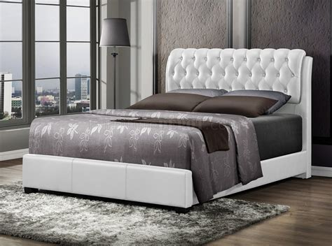 white upholstered bed b143 upholstered bed in white leatherette