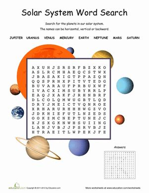 printable word search solar system solar system word search worksheet education com