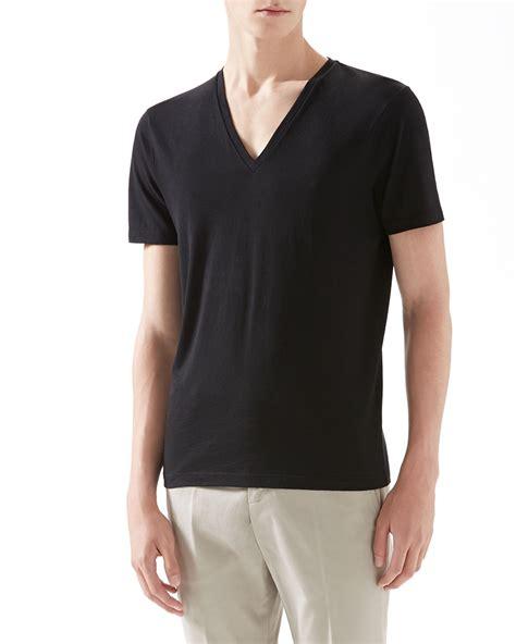 Gucci T Shirt V gucci cotton v neck t shirt in black for lyst