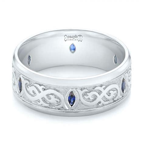 custom engraved blue sapphire s wedding band 103237