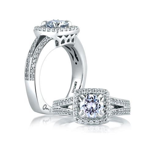 a jaffe square halo split shank engagement ring