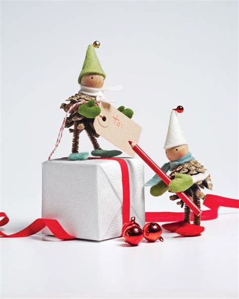 christmas ornaments pinecone elves winter holidays