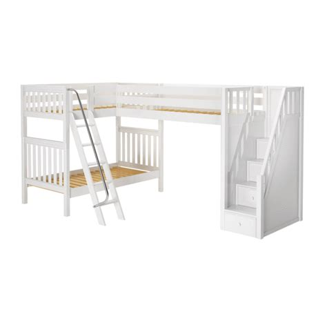 twin high corner loft bunk bed  ladder stairs