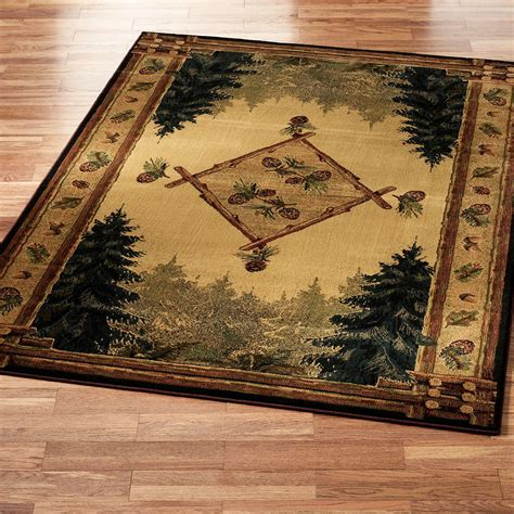 Rustic Cabin Area Rugs Pine Cone Lodge Area Rug