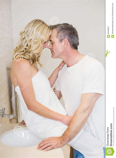 how to kiss in bathroom cute couple about to kiss stock photo image 66436857