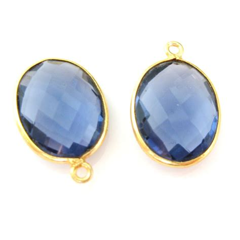 wholesale gold plated sterling silver oval bezel blue