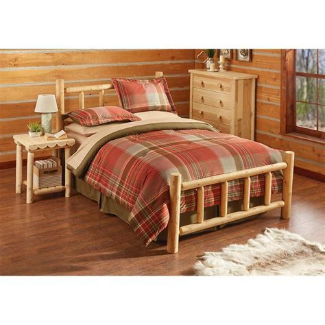queen log bed rustic natural cedar log queen bed w headboard footboard
